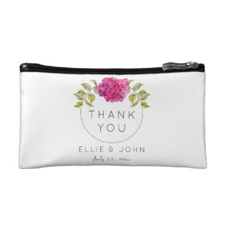 Wedding Favor Hot Pink Hydrangea Makeup Bag