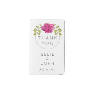 Wedding Favor Hot Pink Hydrangea Pocket Moleskine Notebook