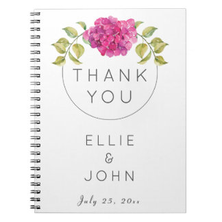 Wedding Favor Hot Pink Hydrangea Spiral Notebook