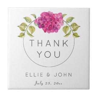 Wedding Favor Hot Pink Hydrangea Tile
