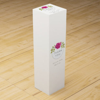 Wedding Favor Hot Pink Hydrangea Wine Box