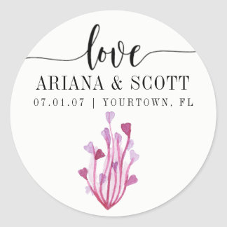 Wedding Favor Invitation Stickers Heart Seaweed
