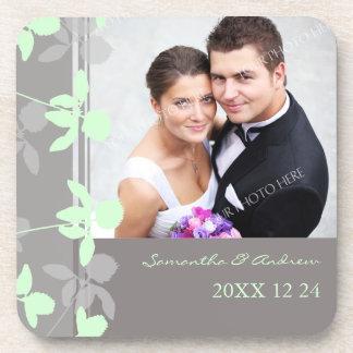 Wedding Favor Mint Grey Floral Photo Coasters