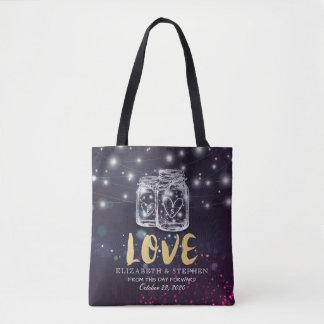Wedding Favor Modern Mason Jar Purple String Light Tote Bag