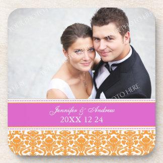 Wedding Favor Orange Damask Photo Coasters