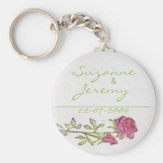 Wedding Favor Personalize Vintage Rose Keychain