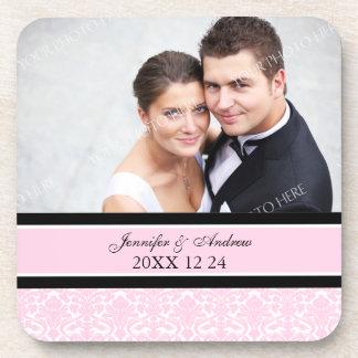 Wedding Favor Pink Damask Photo Coasters
