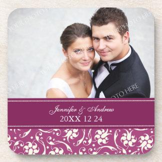 Wedding Favor Pink Floral Photo Coasters