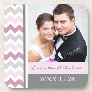 Wedding Favor Pink Grey Chevron Photo Coasters