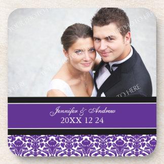 Wedding Favor Purple Damask Photo Coasters
