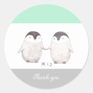 Wedding Favor Sticker Cute Penguin Wedding Sticker