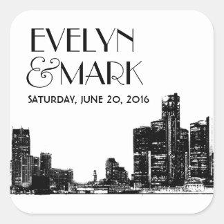 Wedding Favor Stickers   Art Deco Detroit Skyline