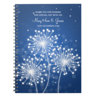 Wedding Favor Summer Sparkle Sapphire Blue Spiral Notebook
