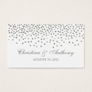 Wedding Favor Tag Elegant Silver Confetti