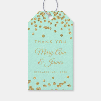Wedding Favor Tag Gold Glitter Confetti Mint Green