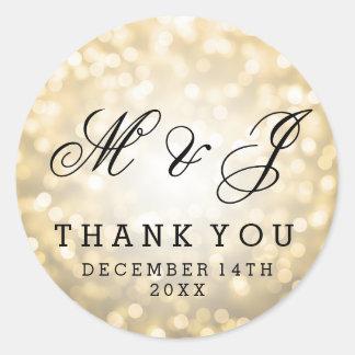 Wedding Favor Tag Gold Glitter Lights Round Sticker