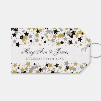 Wedding Favor Tag Gold Glitter Stars Confetti Pack Of Gift Tags