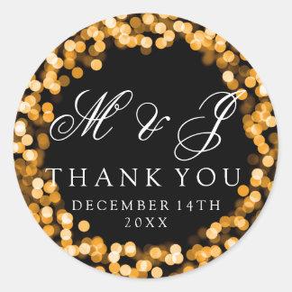 Wedding Favor Tag Gold Sparkly Lights Round Sticker