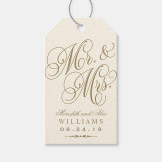 Wedding Favor Tag | Ivory Gold Monogram