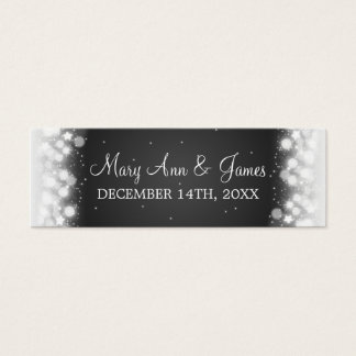 Wedding Favor Tag Magic Sparkle Black Mini Business Card