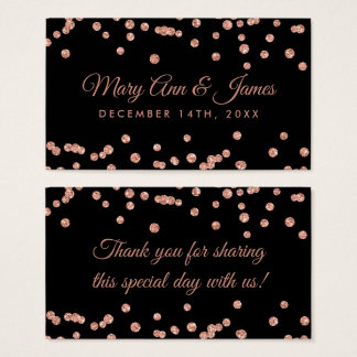 Wedding Favor Tag Rose Gold Glitter Confetti Blac