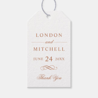 Wedding Favor Tags | Copper Classic Elegance Pack Of Gift Tags