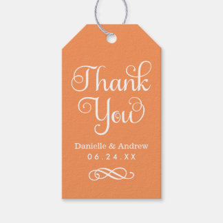 Wedding Favor Tags | Thank You Script in Orange