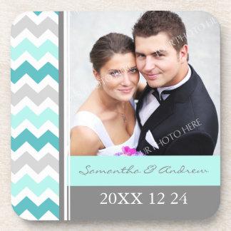 Wedding Favor Teal Grey Chevron Photo Coasters