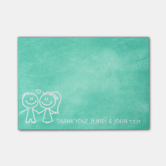 Wedding Favor Thank You Chalkboard Mint Aquamarine Post-it Notes