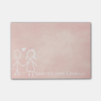 Wedding Favor Thank You Chalkboard Peach Pastel Post-it Notes