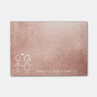 Wedding Favor Thank You Pink Gold Pastel Post-it Notes