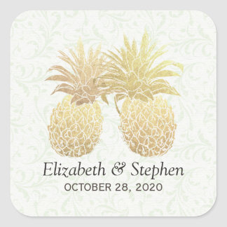 Wedding Favor Vintage Gold Foil Pineapple Couple Square Sticker