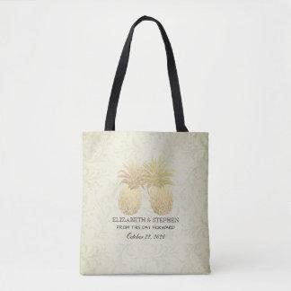 Wedding Favor Vintage Gold Pineapples Damask Paper Tote Bag