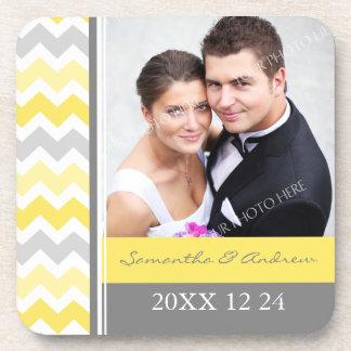 Wedding Favor Yellow Grey Chevron Photo Coasters
