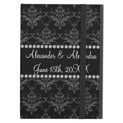 Wedding favors Black damask iPad Cover