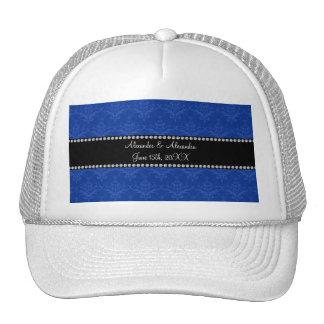 Wedding favors Blue damask Mesh Hats
