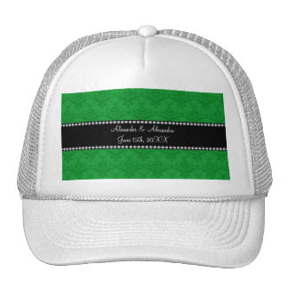 Wedding favors Green damask Trucker Hat