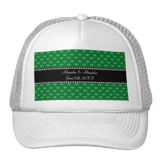 Wedding favors green hearts trucker hat