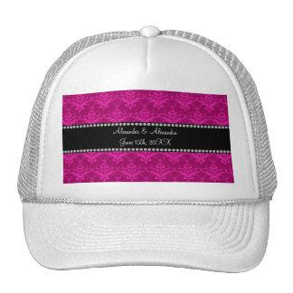 Wedding favors Magenta pink damask Trucker Hat