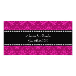 Wedding favors Magenta pink damask Photo Cards