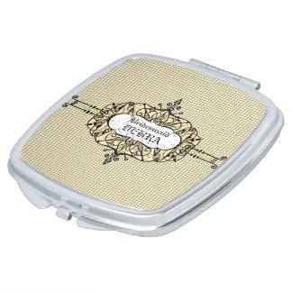 Wedding-Favors-Monogram-Gold-Template Makeup Mirror