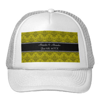 Wedding favors Mustard yellow damask Trucker Hat