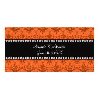 Wedding favors Orange damask Photo Greeting Card