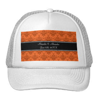 Wedding favors Orange damask Trucker Hat