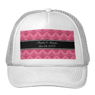 Wedding favors Pink damask Trucker Hats