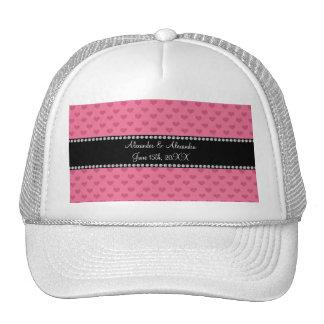 Wedding favors pink hearts trucker hat