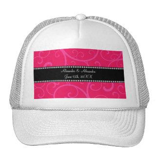 Wedding favors pink swirls trucker hat