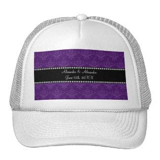 Wedding favors Purple damask Trucker Hat