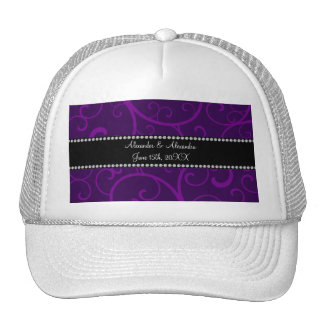 Wedding favors purple swirls mesh hats