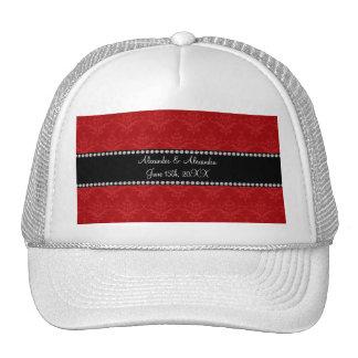 Wedding favors red damask trucker hat